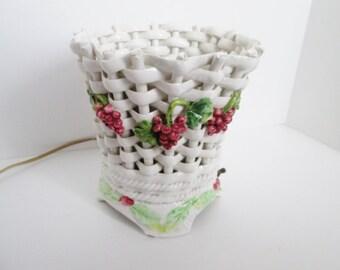 Vintage Ceramic Basket Lamp Open Weave Light, Mid Century Mod Floral Bedroom decor, TV Lamp living room, Table Top Bedroom Red Green Applied