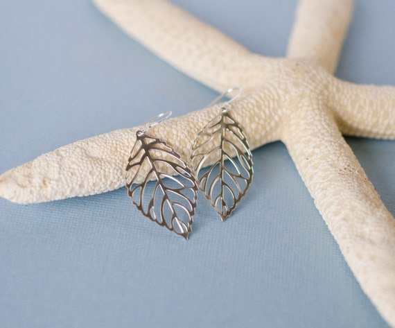 Silver leaf earrings, charm, silhouette, nature, inspired forest, woodland, jewelry, Handmade in Santa Cruz