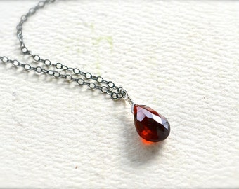 Cranberry Necklace - garnet necklace, crimson red garnet gemstone, oxidized sterling silver, january birthstone, OS17