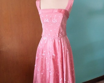 She Danced The Stroll - 1950's Floral Embroidered Pink Taffeta Dress