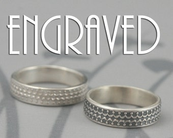 Shadow Crown Band--Solid Sterling Silver Crown Ring-Flat Edge Band-Raised Embossed Crown-Personalized Custom Engraving -Silver Wedding Band