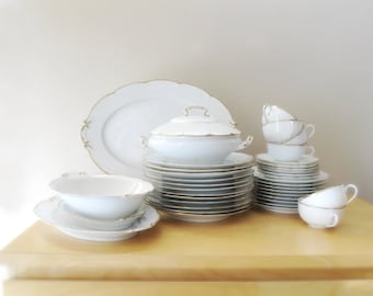 vintage 1900's dinnerware set gold embellished antique wedding china set plates platters tureen