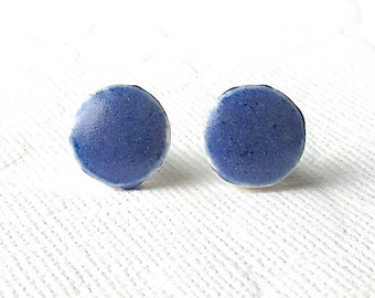Small Blue Earrings. Round. Stud Earrings. Cobalt Blue. Ceramic. Sapphire Blue. Royal Blue. Clay. Posts. Surgical Steel. Circle. Minimalist