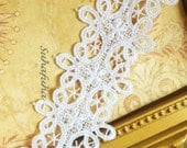 """WHITE Victorian Inspired Swirly Venise Lace Trim- 1.5"""" wide"""