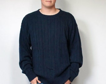 Vintage Sweater Men's Izod School Sweater Cable Knit Crew Neck Preppy Navy Blue Size Large Slouchy Sweater