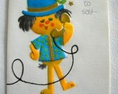 Vintage Get Well Hope You're Feeling Better Greeting Card Unused 1970s Ambassador Cards Cute Fuzzy Creature