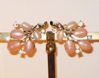 Vintage H&SO Pink Thermoset Moonglow Clip Earrings (E-1-5)