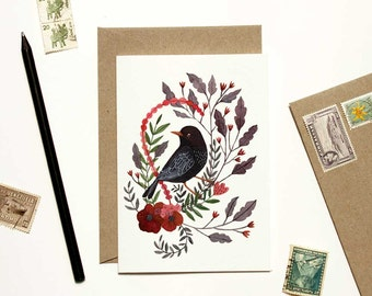 Black Bird with Red Floral Card