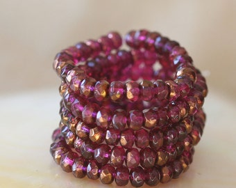 Czech Glass Beads - 5x3mm Gemstone Cut Donut - Faceted Rondelle - Jewelry Making Supplies - Fuchsia Bronze (30 bead strand)
