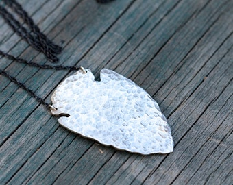Sterling Silver Hammered Arrowhead Necklace.