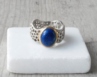 Lapis Lazuli Ring, Sterling Silver Wide Band Blue Gemstone Ring, Contemporary Statement Blue Lapis Ring, Natural Lapis Lazuli Jewelry