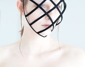 Black color Crinoline mask with ribbon end head cage for fantasy party theater unique woman size