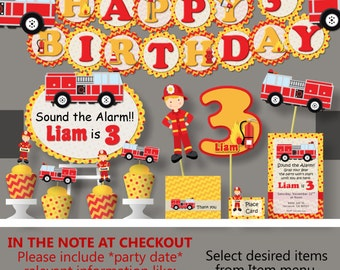 Fire Truck Birthday Party Decoration -  Firetruck, Firefighter, Fireman, Fire Engine - Invitation, Cake Topper, Cupcakes, Package