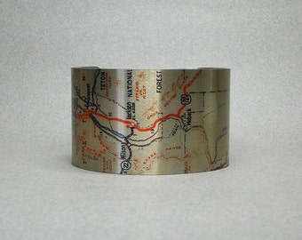 Grand Teton National Park Wyoming Map Cuff Bracelet Unique Hiking Gift for Men or Women