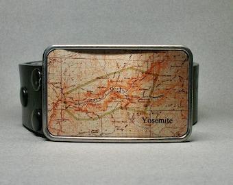 Belt Buckle Yosemite National Park Map California Unique Gift for Men or Women