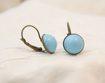 Light blue cabochon earrings. Retro cabochon earrings. Everyday earrings. Urban Earrings.
