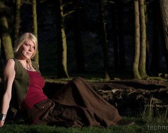 Olive Leaf Waistcoat ~ Olive Green ~ Fleece ~ Winter Clothing ~ Woodland Fairy ~ Autumn Wear ~ Vest ~ Shrug ~ Faery Clothing ~ technodolly