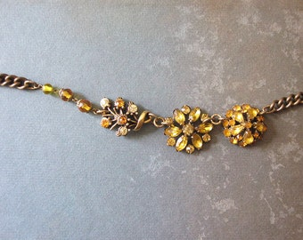 Sparkly Golden Rhinestone Assemblage Necklace / Festive Vintage Repurposed Jewelry / OOAK / Boho Chic