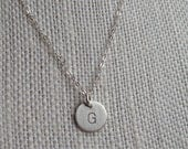 3/8 inch Sterling Silver Hand stamped, Personalized, Uppercase Initial, Name, Round Disc Necklace