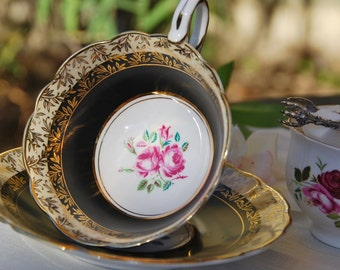 Stunning ROYAL STAFFORD Tea Cup and Saucer, Black, Pink Rose, Gilt,  England