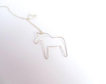 Dalahorse Necklace, Dala Horse Necklace, Dalahast Necklace, Made In Sweden, Swedish Jewelry, Swedish Horse, Dalahäst, Swedish Dala Horse