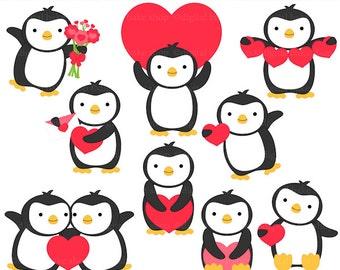 penguin valentine clip art digital clipart - Valentine Penguins Digital Clip Art
