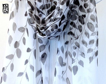 Hand Painted Silk Shawl Scarf, Black Zen Leaves Japanese Scarf, Silk Chiffon Scarf. Black Silk Scarf. Approx 22x90 inches.