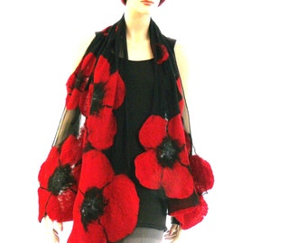 Nuno felted shawl - large flowers scarf - wool and silk - Optional: red, white, black, gray
