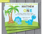 Dinosaur 1st Birthday Invitation - Dinosaur Party - Dinosaur Invitation - Birthday Party - Download & Personalize at home in Adobe Reader