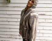 vintage blanket jacket with pom poms hood and pockets -70s