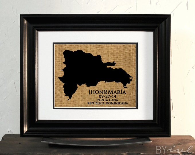 Punta Cana Destination Wedding Sign Burlap Art. Dominican Republic Map. Anniversary Gift. Custom Couple Name. Unframed.