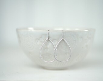 Textured Silver Matte Teardrop Earrings