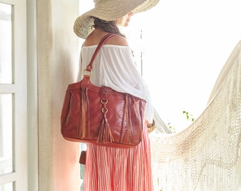 FREE SPIRIT. Cognac leather tote / leather shoulder bag / boho leather bag / hippie leather bag / tote. Available in different leather color