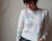 early 80s loose-knit sweater/ minimalist design/ year-round sweater