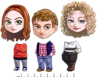 Mix and Match Magnets: Amy, Rory, River (Doctor Who New Companions Set 2)