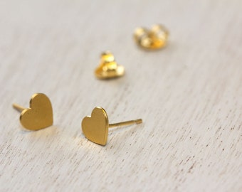 Heart earrings, tiny heart studs, gold stud earrings.