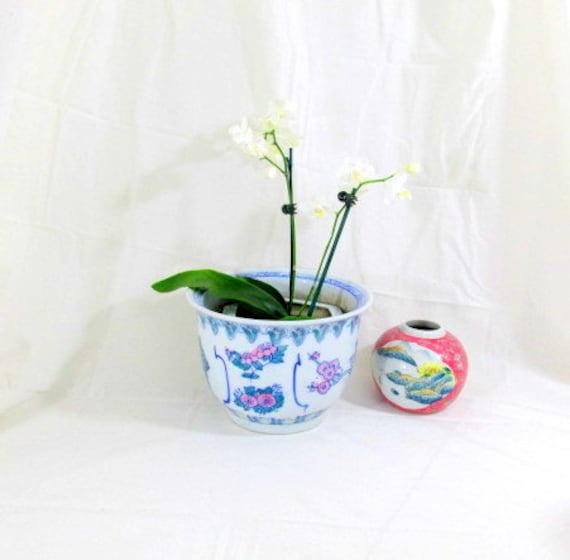 Vintage blue white planter