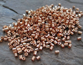 1.5 mm x 3 mm glass bugle tube beads tiny gold metallic finish jewelry sewing craft supply, 10 grams