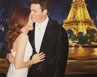 Romantic Wedding Custom Portrait Art from Your Photo - Hand Painted & Stretched