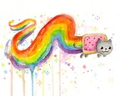 Nyan Cat Watercolor Art Print Giclee, Rainbow Art, Nyan Cat Art, Cat Painting, Meme Print, Meme Art, Rainbow Poptart, Internet Meme Painting