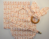 Baby Girl Gift Set - Easter, Spring, Bib, Organic Bunny Ear Teether, Burp Cloth, & Pacifier Clip