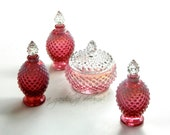 Fenton glass vanity set hobnail cranberry opalescent three cologne perfume bottles powder jewelry box gift romantic decor collectible c 1950