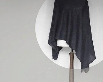 Knit poncho, black poncho, wrap sweater, black cape, women poncho, black sweater, knit cape, knit scarf, kimono sweater, knit sweater