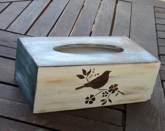 Wooden tissue box cover,  rectangular wood kleenex cover, rustic facial tissue box , painted bird wood box removable base, bedroom decor