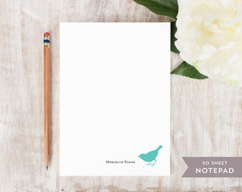 Personalized Notepad - BIRD EATING SEEDS  - Stationery / Stationary Notepad - cute feminine nature cards
