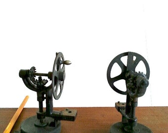 Hand crank Steampunk Cast Iron gear from Printing machine  Measures 4 & 1/2 inches in height,  1 Available .