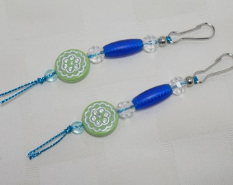 2 Zipper Pulls, Blue Green Purse Bling Charms, Party Favors, Hostess Teacher Valentine Gift, Key Fob, Luggage, Jacket, Coat, Handmade OOAK