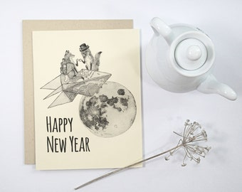 1 Happy New Year Card: Foxes on paper rocket with top hat and monocle, steampunk style, handmade card