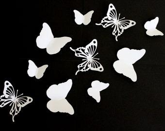 Items similar to 15 3d wall butterflies 3d wall decor 3d for White paper butterflies