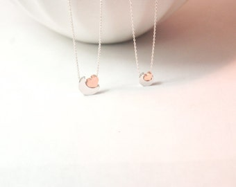 I love you to the moon and back,moon jewelry. gift for mother baby. mommy kids.big sis. little sis.rose gold heart jewelry.matching necklace